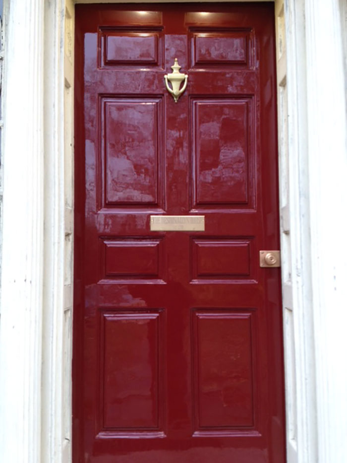 Fitzgerald restored this 1814 door in New London CT. After a complete paint removal we applied 7 coats of Fine Paints of Europe paint and polished the ... : door shop - Pezcame.Com